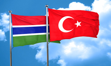 gambia: Gambia flag with Turkey flag, 3D rendering Stock Photo