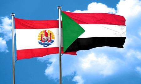 polynesia: french polynesia flag with Sudan flag, 3D rendering