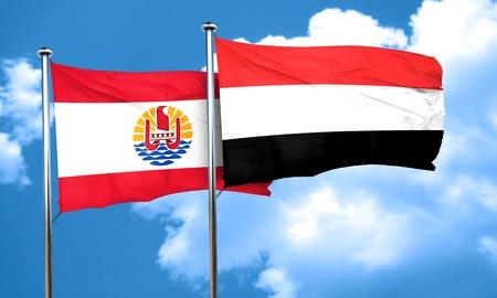 polynesia: french polynesia flag with Yemen flag, 3D rendering Stock Photo