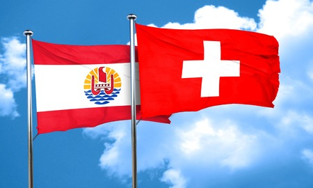 switzerland flag: french polynesia flag with Switzerland flag, 3D rendering Stock Photo