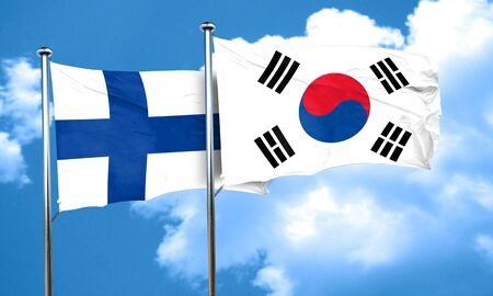 finland flag: finland flag with South Korea flag, 3D rendering