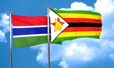 zimbabwe: Gambia flag with Zimbabwe flag, 3D rendering