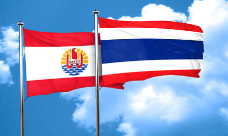 polynesia: french polynesia flag with Thailand flag, 3D rendering