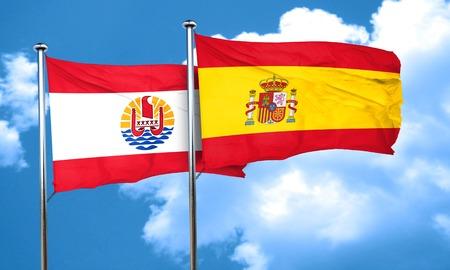 polynesia: french polynesia flag with Spain flag, 3D rendering Stock Photo