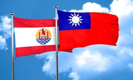 polynesia: french polynesia flag with Taiwan flag, 3D rendering Stock Photo