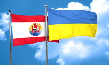 polynesia: french polynesia flag with Ukraine flag, 3D rendering