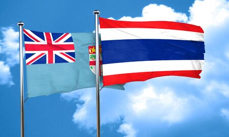 fiji: Fiji flag with Thailand flag, 3D rendering