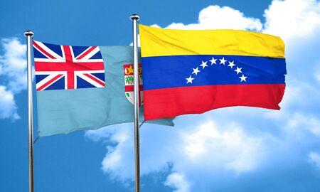 venezuela flag: Fiji flag with Venezuela flag, 3D rendering