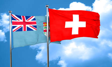 switzerland flag: Fiji flag with Switzerland flag, 3D rendering