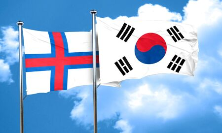 korea flag: faroe islands flag with South Korea flag, 3D rendering