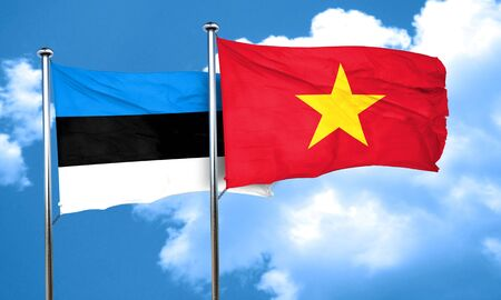 vietnam flag: estonia flag with Vietnam flag, 3D rendering