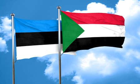 estonia: estonia flag with Sudan flag, 3D rendering