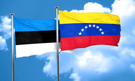 venezuela flag: Bandera de Estonia con la bandera de Venezuela, 3D Foto de archivo