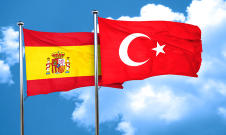 3d turkey: Spanish flag with Turkey flag, 3D rendering