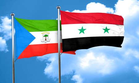 equatorial: Equatorial guinea flag with Syria flag, 3D rendering