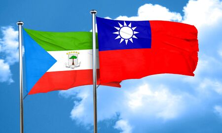 equatorial: Equatorial guinea flag with Taiwan flag, 3D rendering Stock Photo