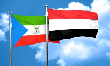equatorial: Equatorial guinea flag with Yemen flag, 3D rendering Stock Photo