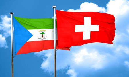 equatorial: Equatorial guinea flag with Switzerland flag, 3D rendering Stock Photo