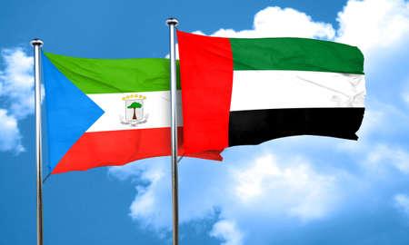 equatorial: Equatorial guinea flag with UAE flag, 3D rendering