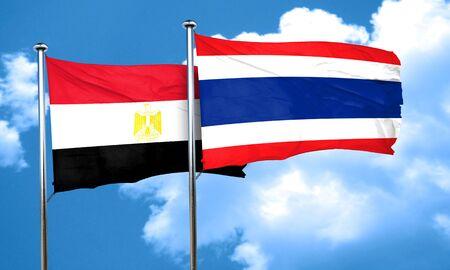 bandera de egipto: bandera de Egipto con la bandera de Tailandia, 3D Foto de archivo