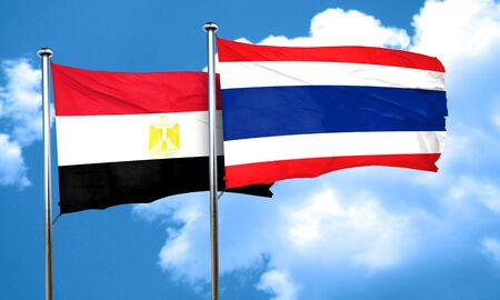 egypt flag: Egypt flag with Thailand flag, 3D rendering