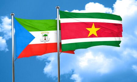 equatorial: Equatorial guinea flag with Suriname flag, 3D rendering Stock Photo