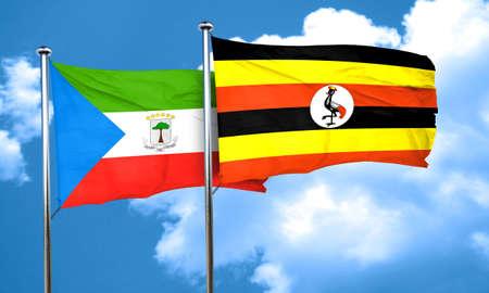 equatorial: Equatorial guinea flag with Uganda flag, 3D rendering