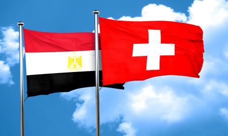 bandera egipto: bandera de Egipto con la bandera Suiza, 3D