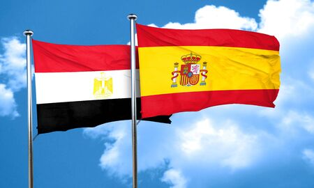 bandera de egipto: Egypt flag with Spain flag, 3D rendering