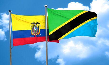ecuador: Ecuador flag with Tanzania flag, 3D rendering