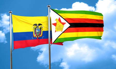 ecuador: Ecuador flag with Zimbabwe flag, 3D rendering