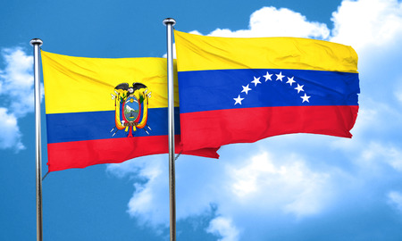 Ecuador flag with Venezuela flag, 3D rendering
