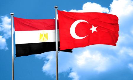 flag pole: Egypt flag with Turkey flag, 3D rendering Stock Photo