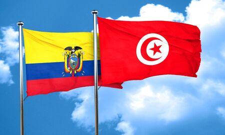 tunisia: Ecuador flag with Tunisia flag, 3D rendering Stock Photo