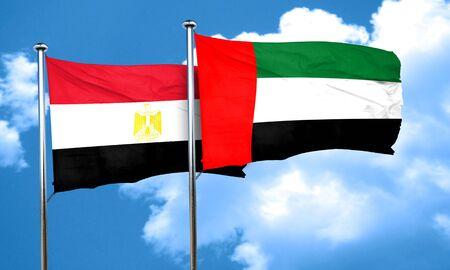 bandera de egipto: bandera de Egipto con la bandera de EAU, representación 3D