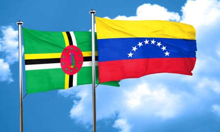 bandera de venezuela: bandera de Dominica con la bandera de Venezuela, 3D