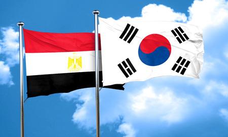 bandera de egipto: bandera de Egipto con la bandera de Corea del Sur, 3D