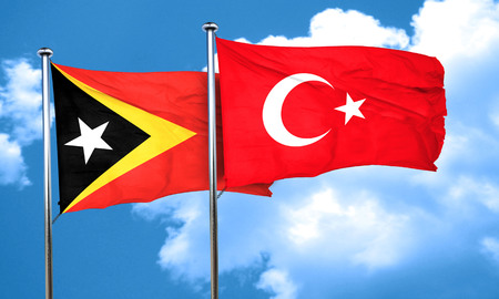 3d turkey: east timor flag with Turkey flag, 3D rendering Stock Photo