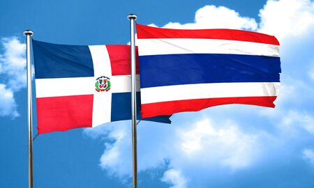 thai culture: dominican republic flag with Thailand flag, 3D rendering