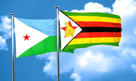 djibouti: Djibouti flag with Zimbabwe flag, 3D rendering Stock Photo