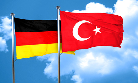 3d turkey: German flag with Turkey flag, 3D rendering