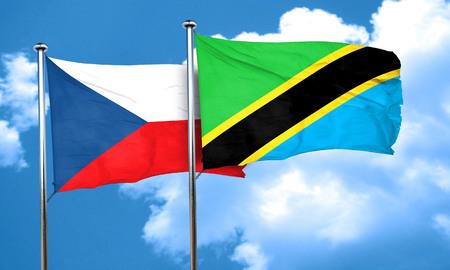 czechoslovakia: czechoslovakia flag with Tanzania flag, 3D rendering