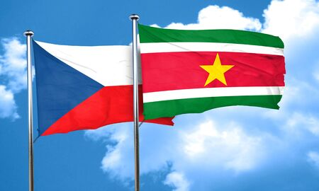 suriname: czechoslovakia flag with Suriname flag, 3D rendering Stock Photo