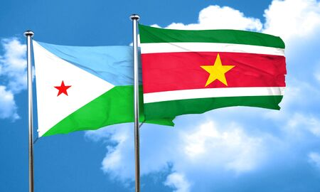 suriname: Djibouti flag with Suriname flag, 3D rendering Stock Photo