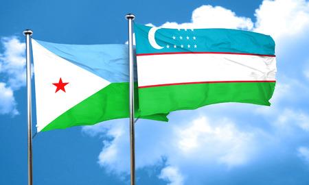 djibouti: Djibouti flag with Uzbekistan flag, 3D rendering