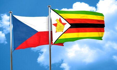 czechoslovakia: czechoslovakia flag with Zimbabwe flag, 3D rendering Stock Photo