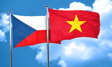 vietnam flag: czechoslovakia flag with Vietnam flag, 3D rendering