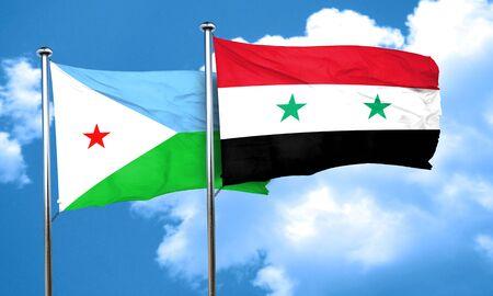 syria: Djibouti flag with Syria flag, 3D rendering Stock Photo