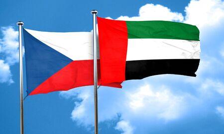 czechoslovakia: czechoslovakia flag with UAE flag, 3D rendering
