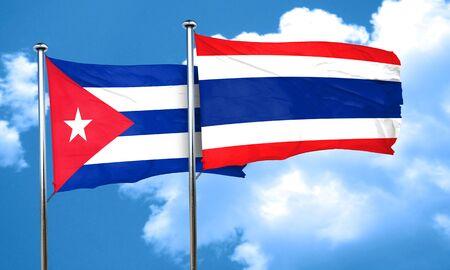 cuba flag: Cuba flag with Thailand flag, 3D rendering Stock Photo